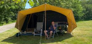 Aart Kok River Lodge vouwwagen op de camping