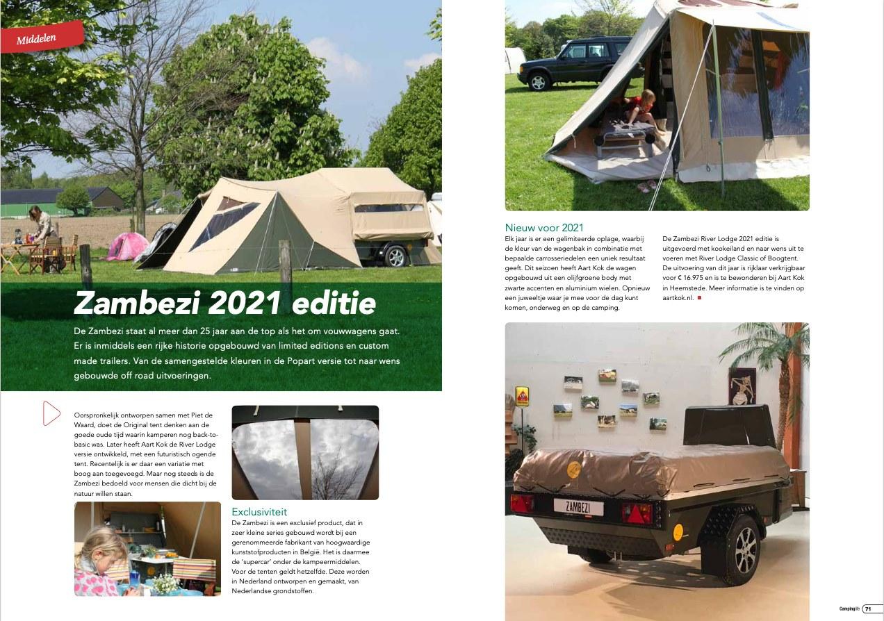 Zambezi River Lodge Limited Edition 2021 vouwwagen in CampingLife magazine